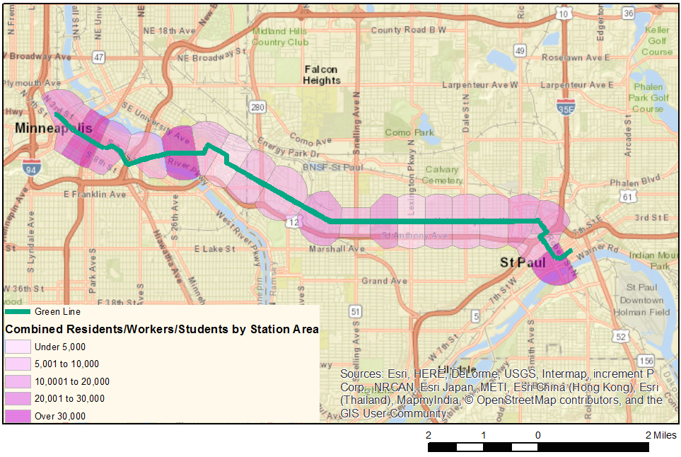 """A map of the Green Line with the station walksheds color-coded by """"Total Activity."""""""