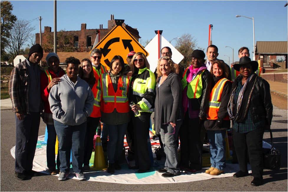 A group of St. Louis residents created this pop-up roundabout to slow traffic on a neighborhood street.