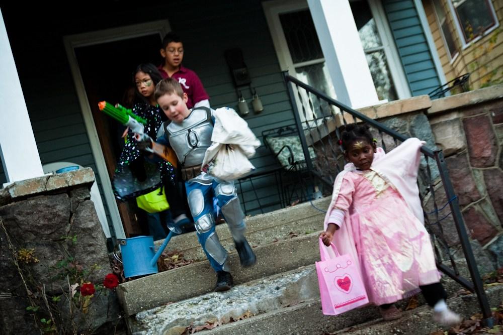 Trick-or-treaters go door-to-door in Grand Rapids, Michigan. Photo credit: Stephen Depolo