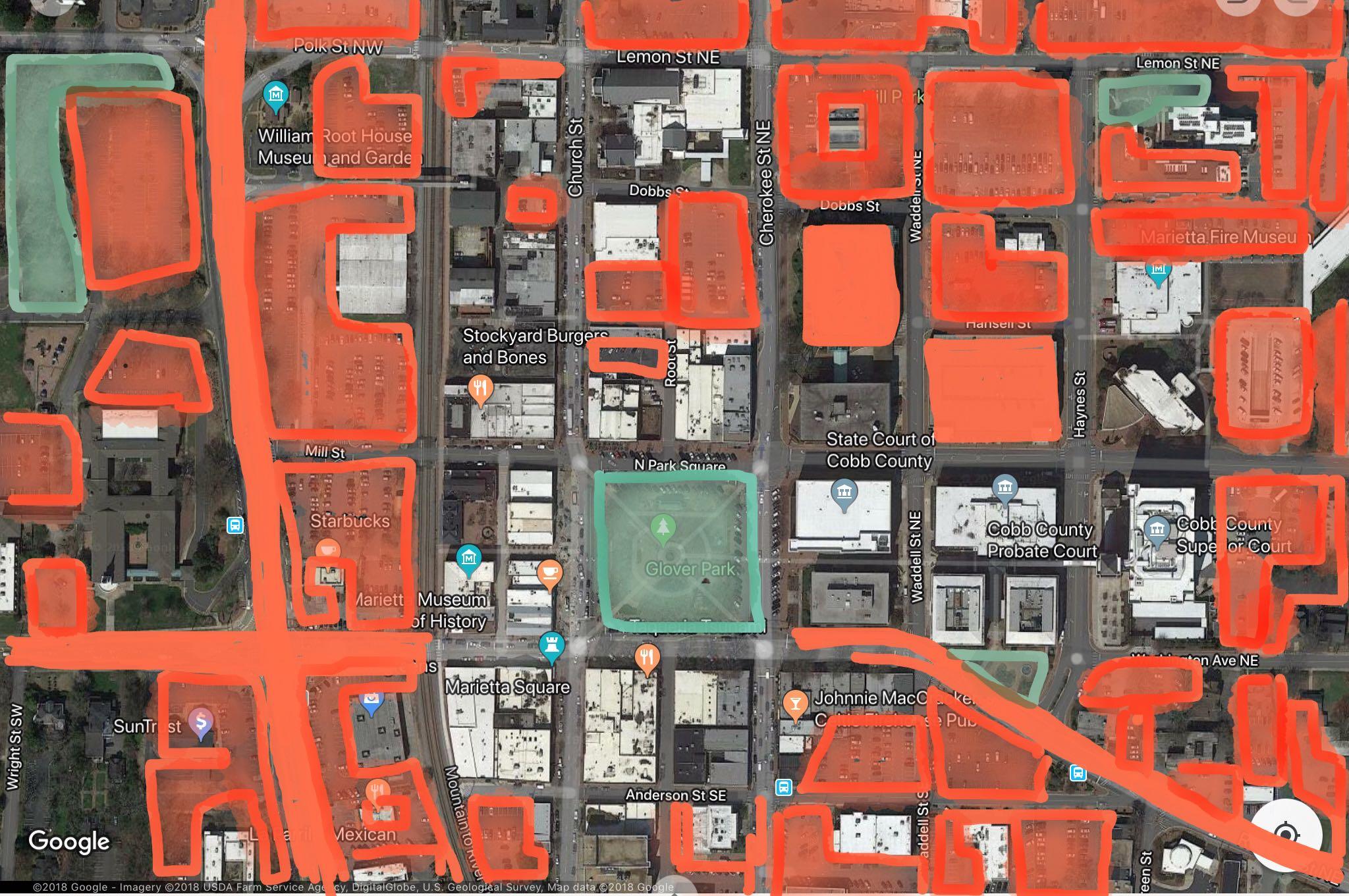 Marietta, GA. Source: Google Maps with modifications by Antonio Graña.