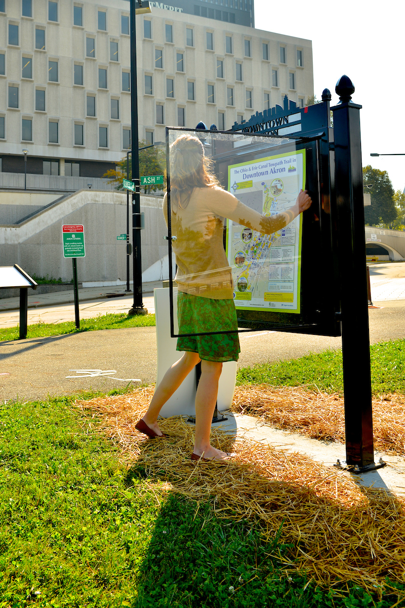 A trail map being installed on Akron's Towpath Trail. (Photo credit: Shane Wynn)