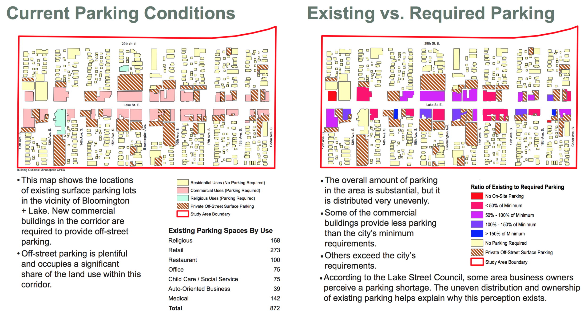 Data from manual count by walking survey conducted Fall 2015; may be outdated. Parking minimums were those in effect in Fall 2015. Click to view larger.