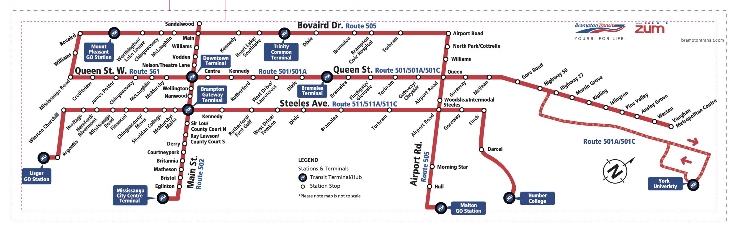 Züm service map (Source: Brampton Transit. Click to view larger.)