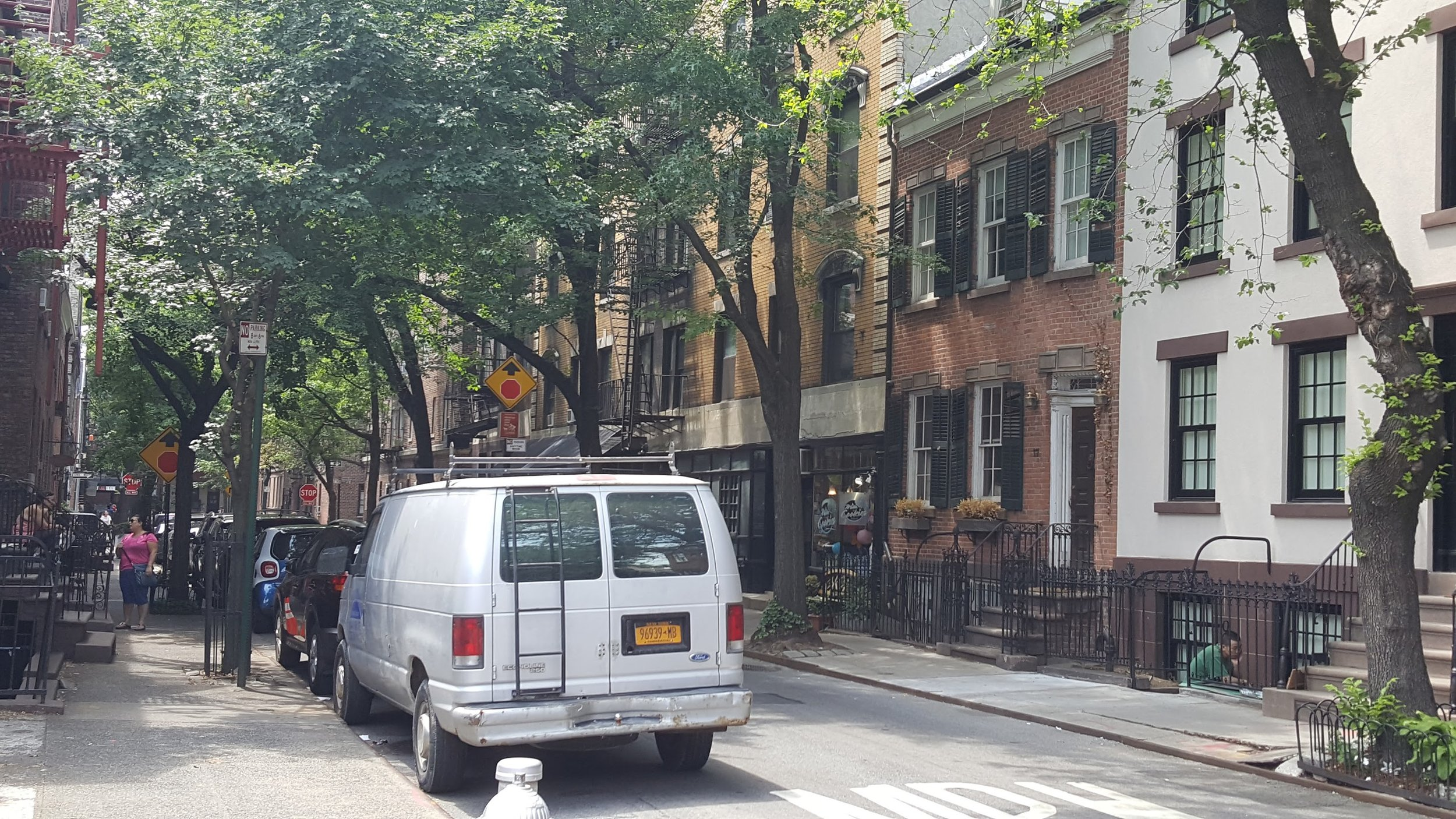 Brick townhomes of West Village.