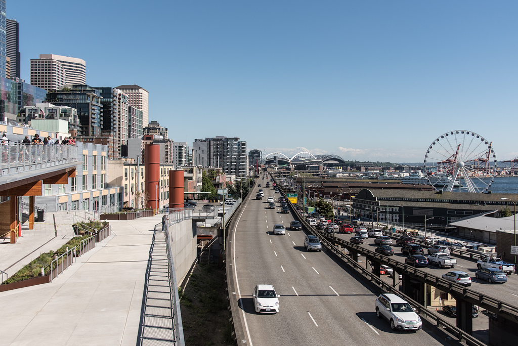 The Alaskan Way Viaduct on a sunny day in 2017 (Source: WSDOT via Flickr)