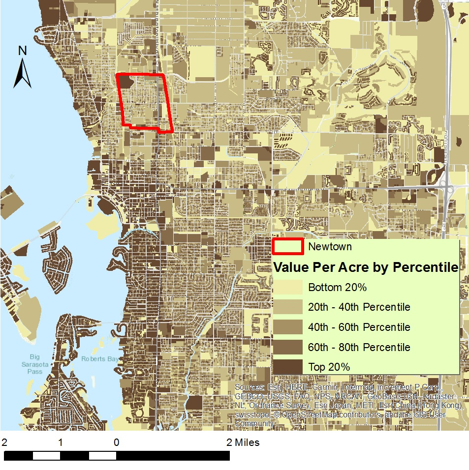 Value per acre map for northern Sarasota including Newtown. Click to view larger.
