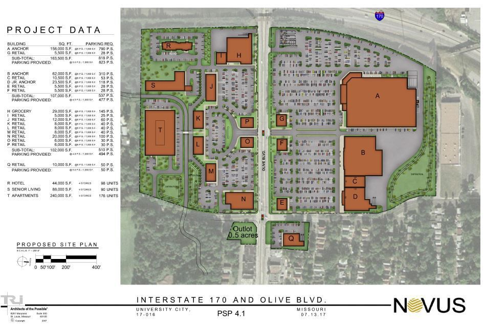 This TIF-financed proposal in University City exemplifies how fragmentation induces municipalities to subsidize low-returning retail development. (Click to view larger.)