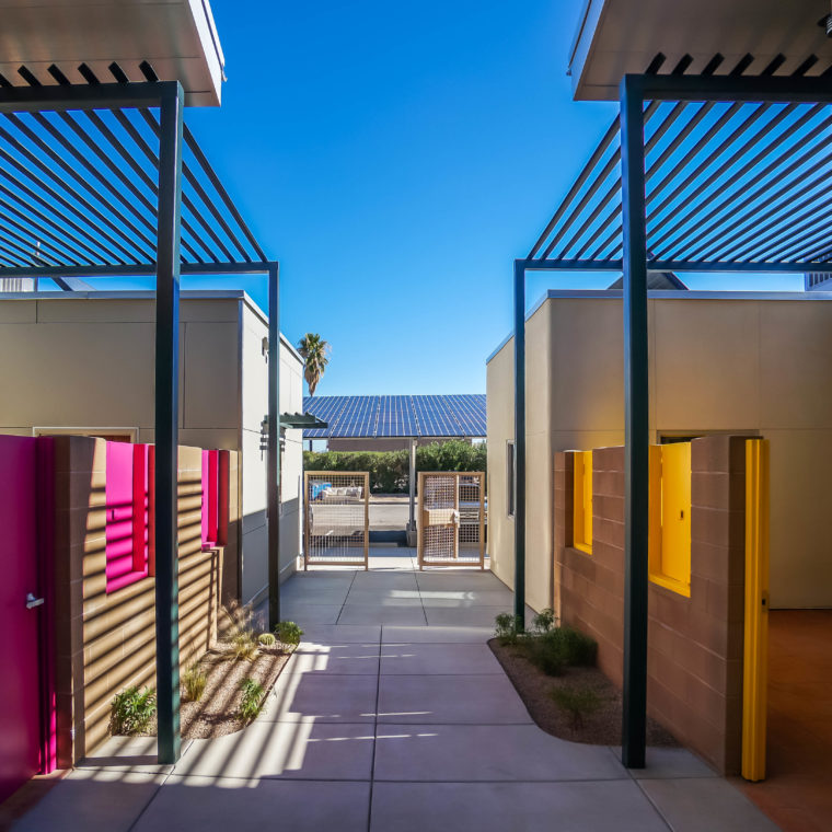 Las Abuelitas Kinship Housing in Tucson, Arizona, a rental community designed for grandparents and great-grandparents to help each other and provide childcare. Courtesy Poster Frost Mirto, 2015