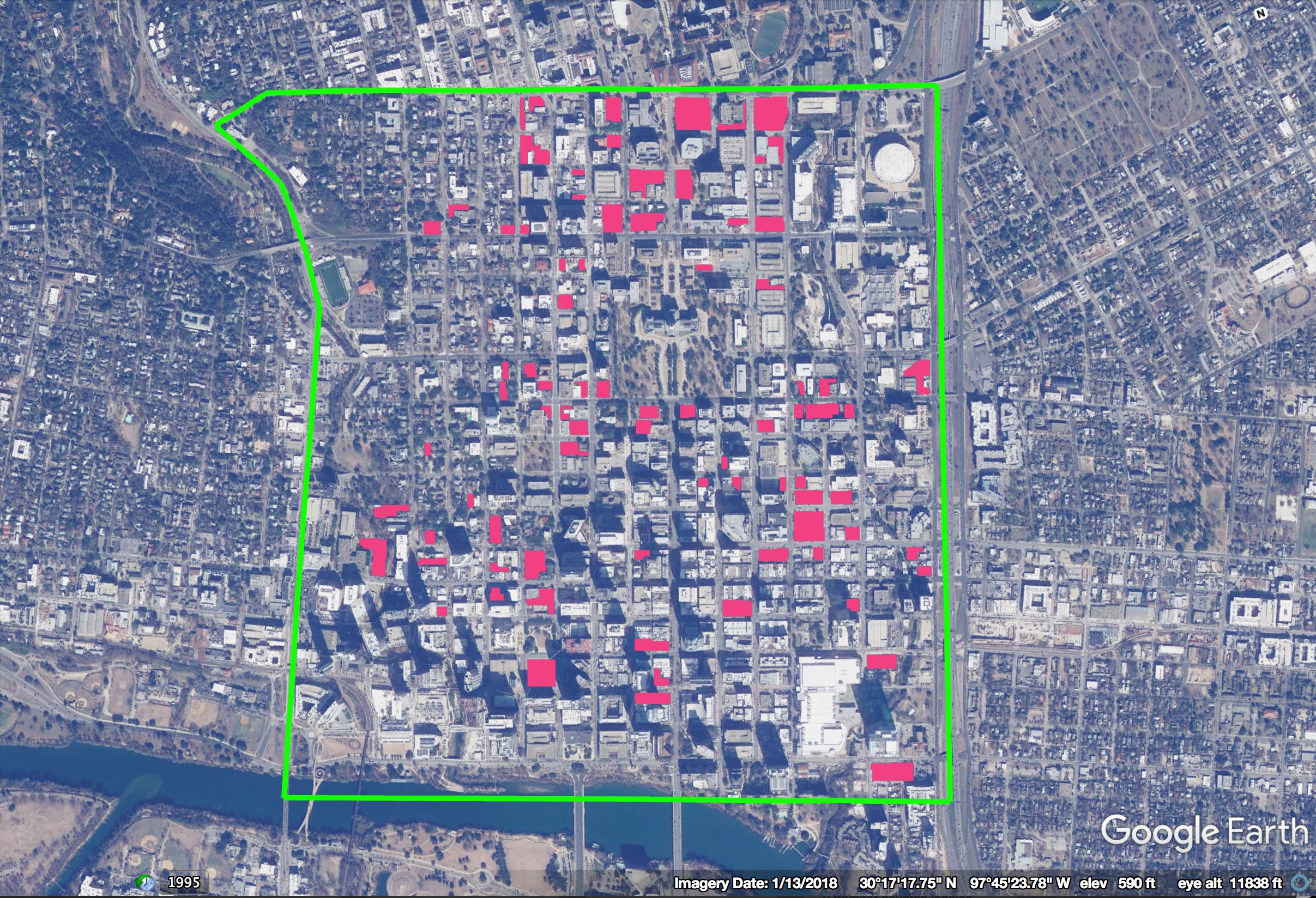 Figure 3: Surface parking lots in downtown Austin, TX. Click to view larger.