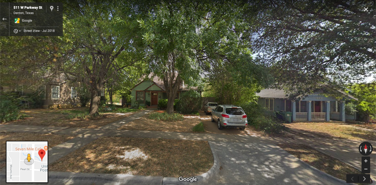 Street view of block in neighborhood to be zoned R3: duplex (left), single-family home (right)
