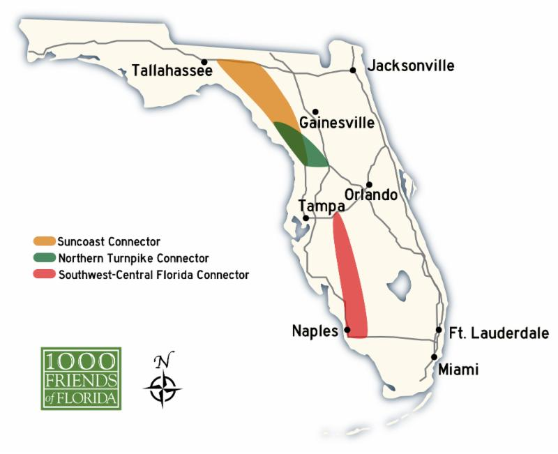A map by 1000 Friends of Florida shows the proposed toll freeway corridors.
