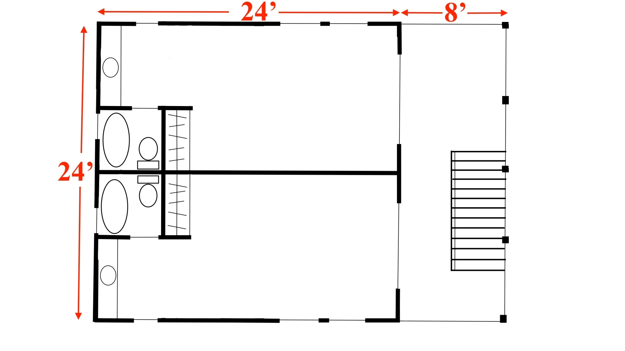 """First floor of """"stealth triplex"""" subdivided."""