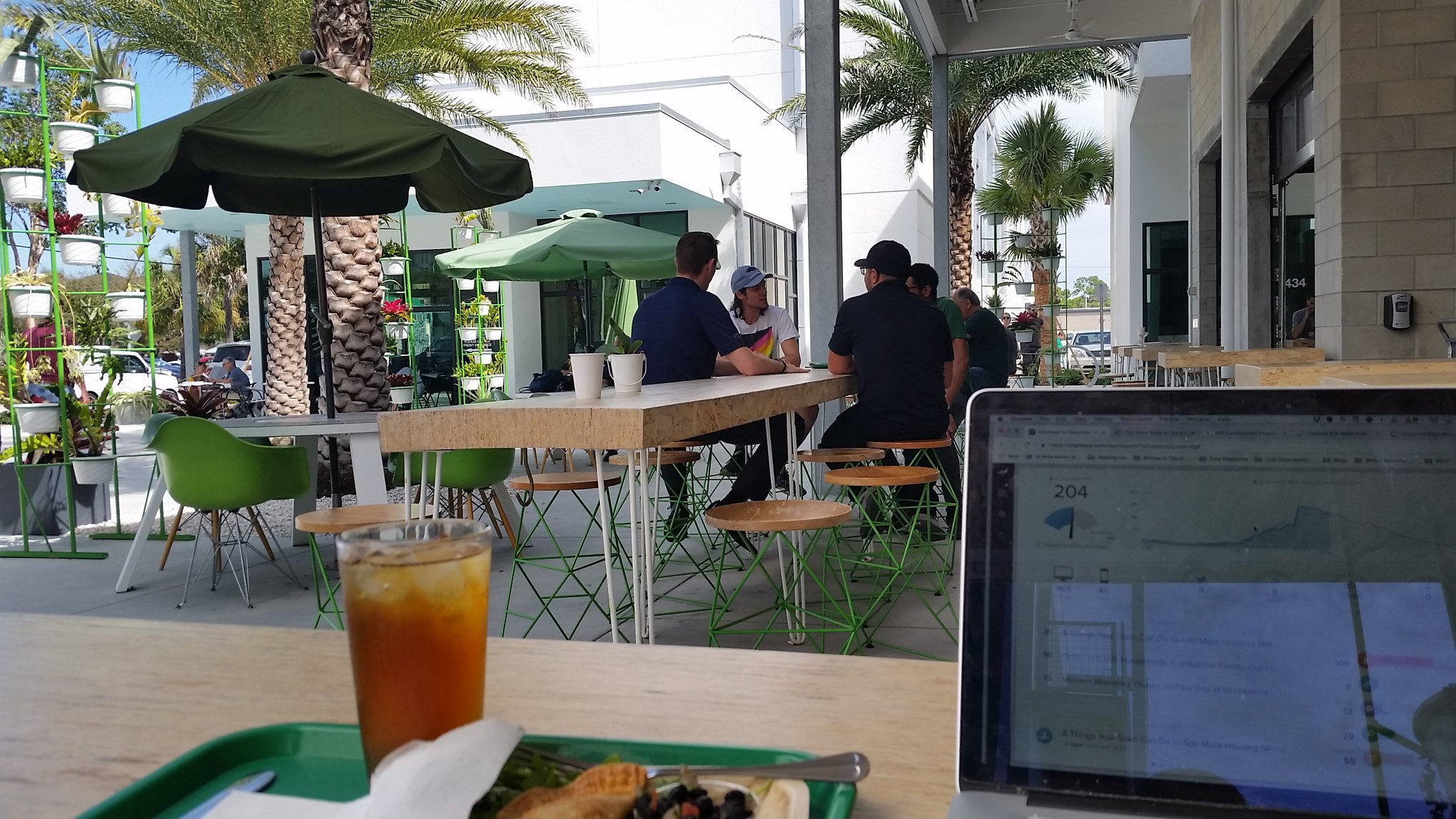 The author's occasional office of choice: a new café in this neighborhood.
