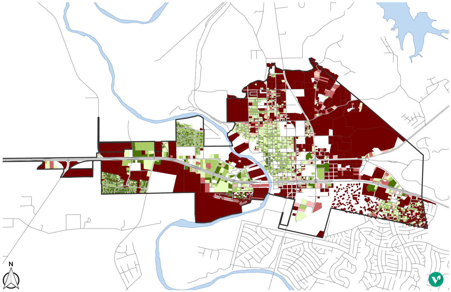 A return-on-investment (ROI) map of Bastrop, Texas. Note the amount of white space within city limits; that indicates properties that are tax-exempt and do not generate revenue for the City.