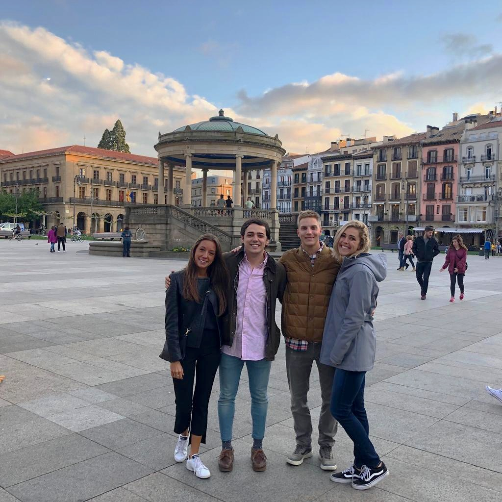 From right to left: my girlfriend Abigail, I, my flatmate David and his girlfriend Isabel spent an evening out in the old town and enjoyed the Plaza del Castillo, the main square and center of Pamplona.