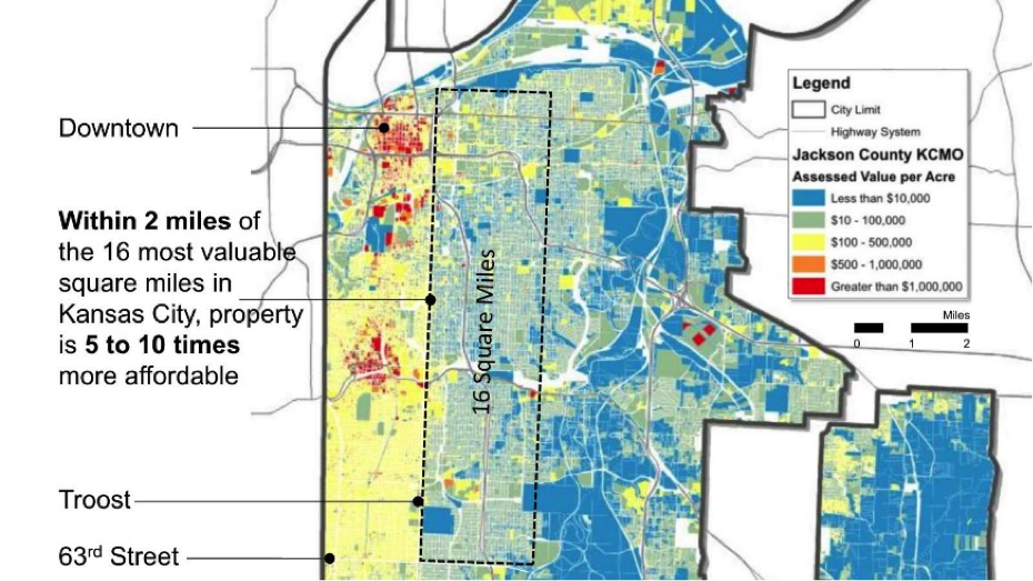 Image: Abby Kinney. The 16 square-miles on either side of Troost Avenue contain roughly the same housing stock and block patterns, though the east side is significantly undervalued. Value, when measured per acre, is starkly contrasted between the east and west side of urban neighborhoods.