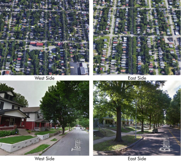 Images: Google. Kansas City's west and east sides reflect very different investment levels. However, most of these urban neighborhoods reinforce similar patterns of blocks, streets, building frontages, and building types.