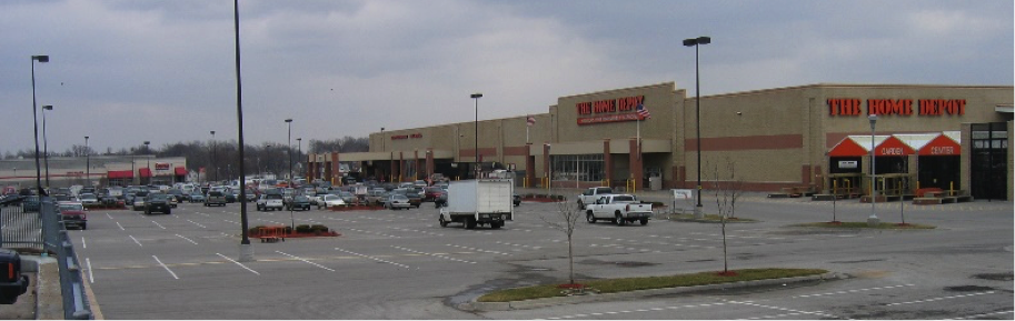 Image: Gould Evans. Big-box shopping center adjacent to the Main Street BRT line in Midtown of Kansas City.