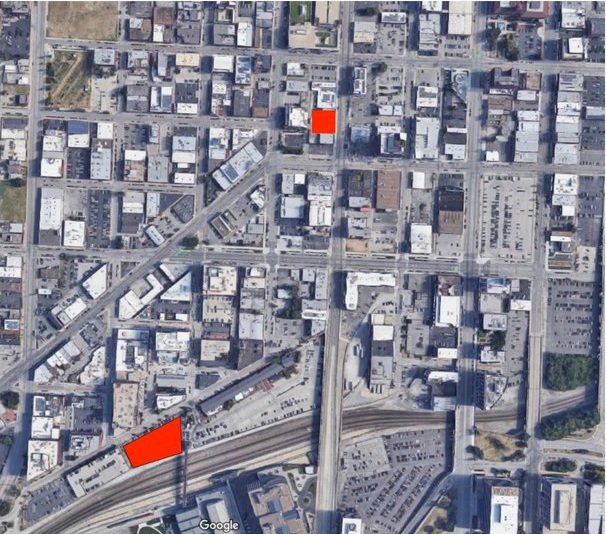 Two recent proposed developments highlighted in red, in the Crossroads neighborhood of Kansas City (click to view larger).