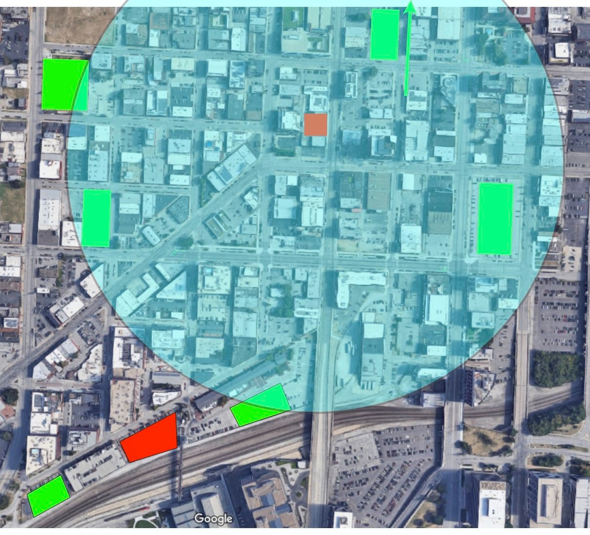 Figure 4: The same area shown with a 5-minute walk radius, the two project sites, and a series of potential sites for public, shared garages. Nearly all are within a 5 minute walk of the streetcar stop at 19th and Main Streets. These are to highlight a few of several potential sites that could accommodate a sizable garage.  Click to view larger.