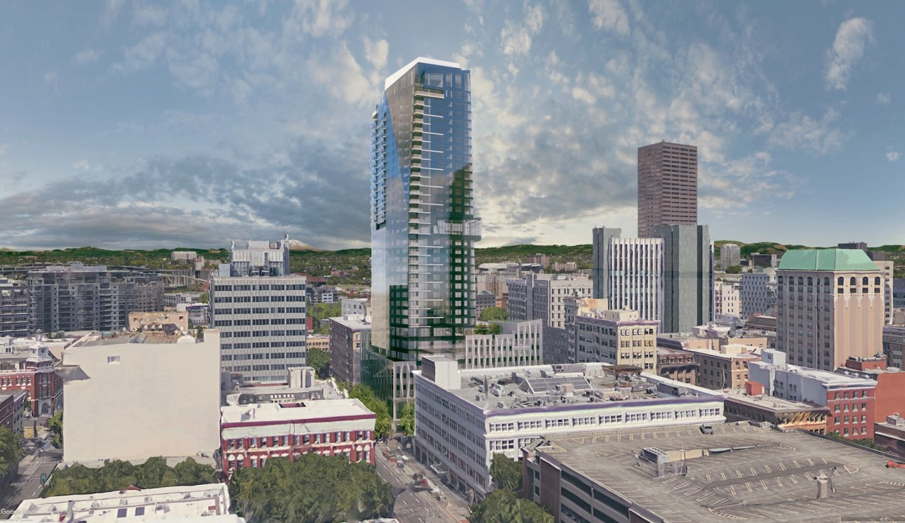 A tower will rise where food carts once ruled: The Block 216 development. (Image: Next Portland)