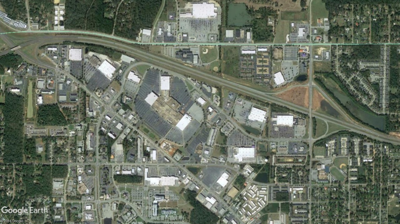 The amount of land consumed by parking lots often dwarfs the amount of land dedicated to human uses. Source: Google Earth