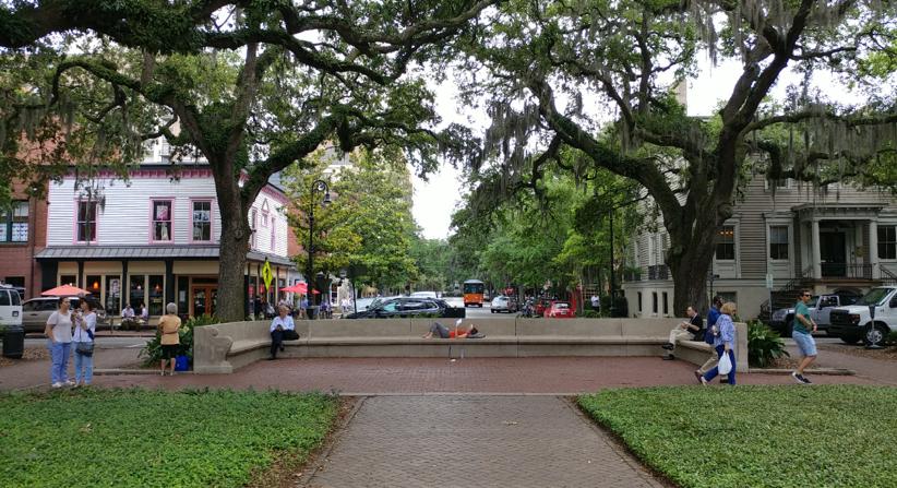 Savannah's system of regular parks often serves as a public backyard for its dense downtown. Source: Alexander Dukes