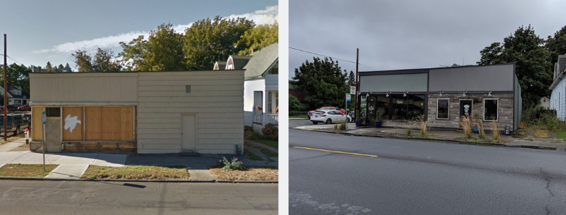 Before and after photos of the boarded-up building that became The Grain Shed.