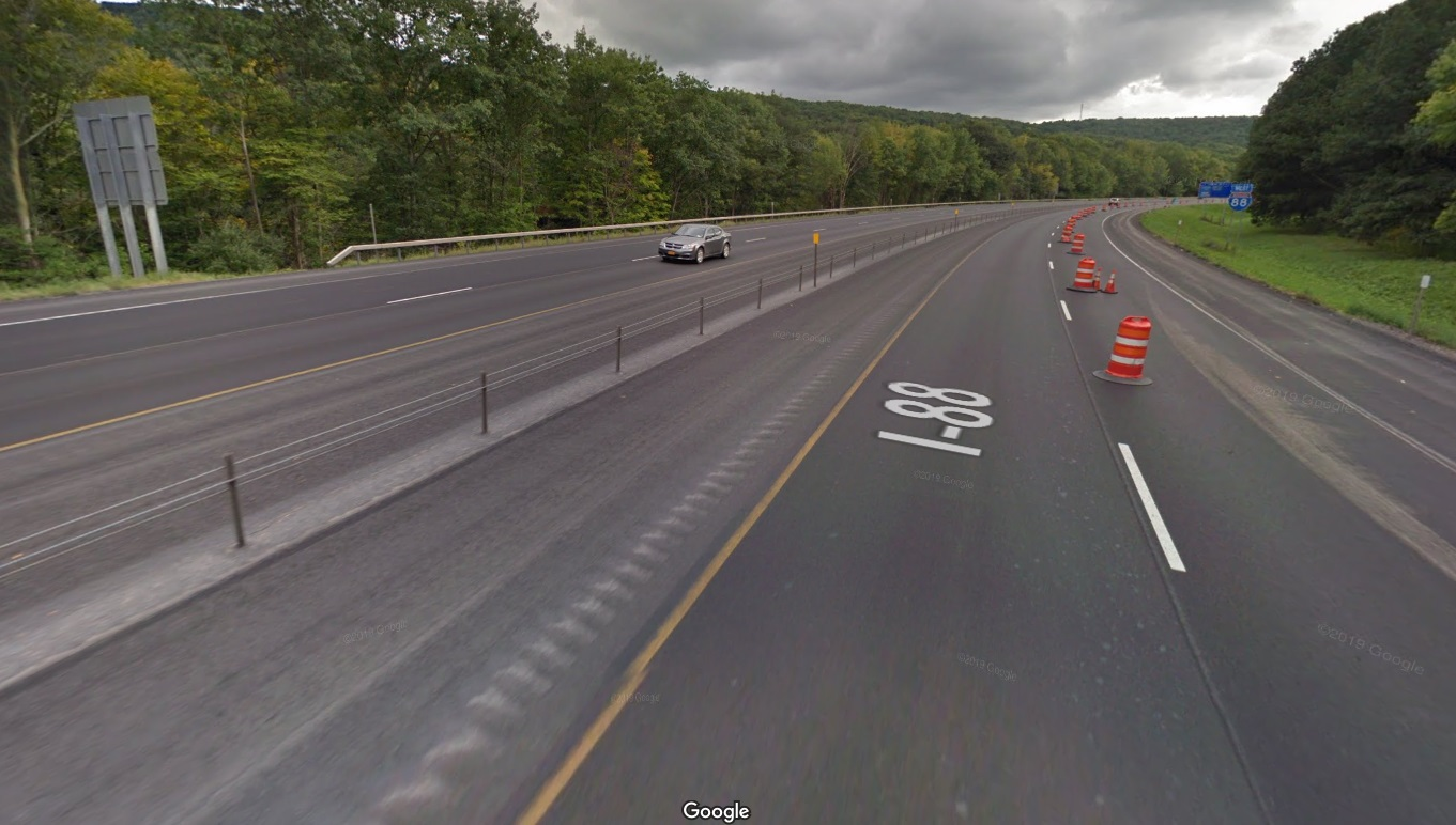 Despite carrying only 12,000 cars per day, this section of I-88 near Oneonta just underwent a resurfacing