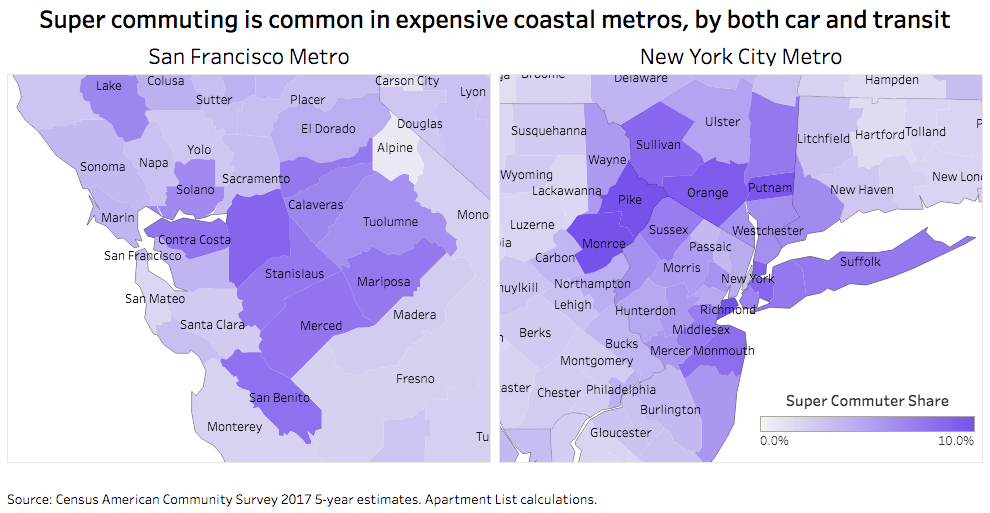 Geography of super-commuting (Apartment List).