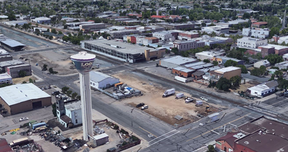 Multiple vacant city blocks cut Lodi in half and offer an opportunity for a community commons. Source: Google