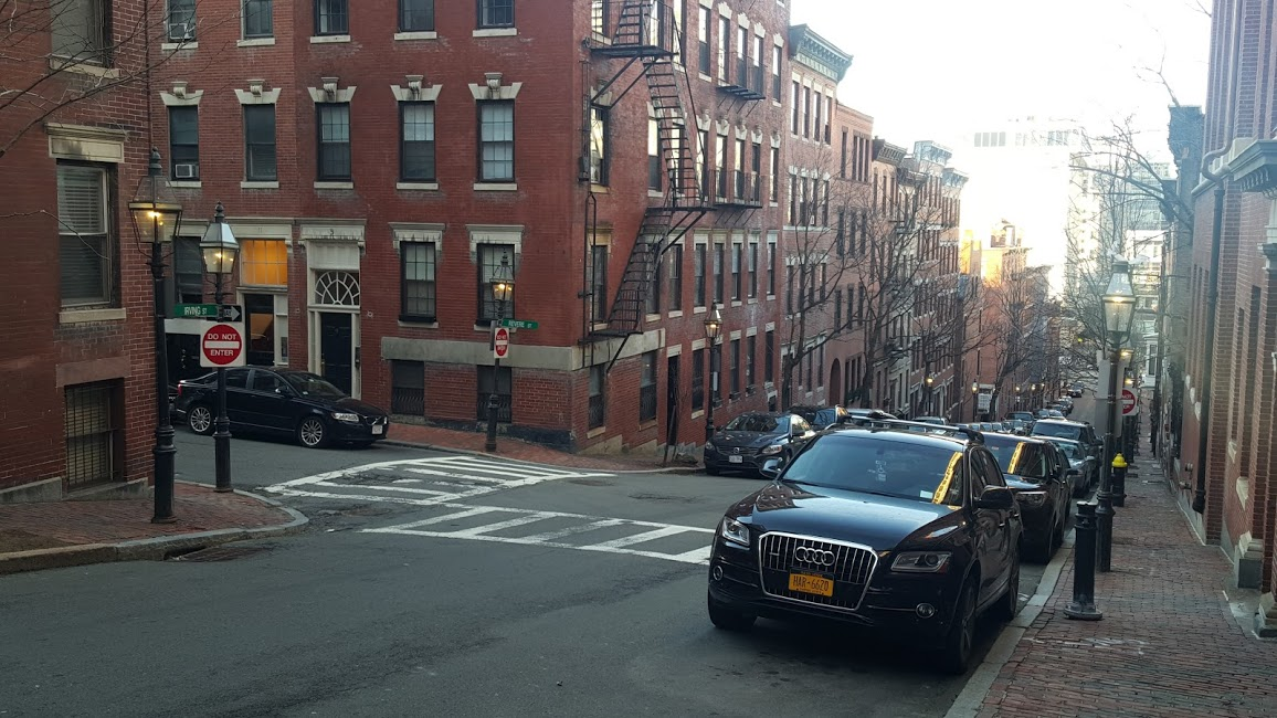 Tiny little sidewalk in Boston.