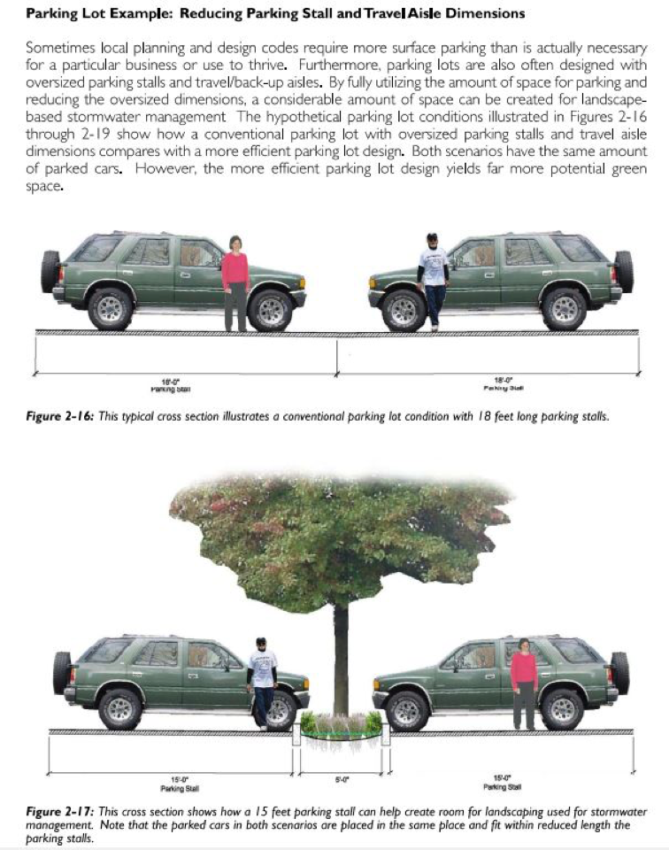 Cities can make it easier to add green infrastructure by reducing parking space sizes. Source: San Mateo County Sustainable Green Streets and Parking Lots Guidebook
