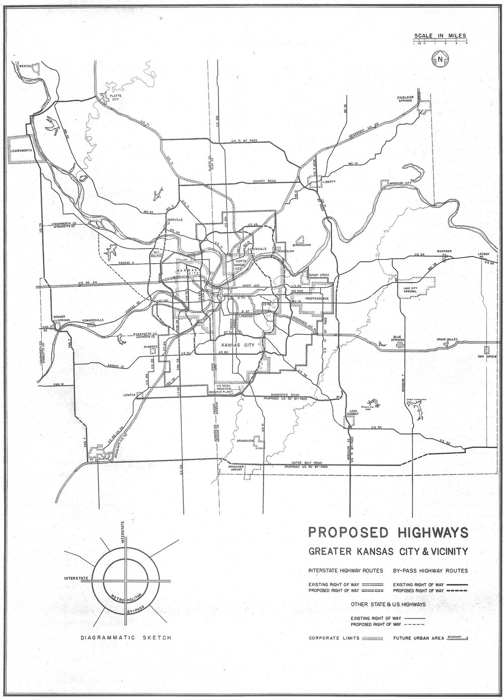 "A 1947 map of highway plans for the Kansas City region shows ""proposed rights of way"" slicing up the city, including what would become the Downtown Loop. Click to view larger."