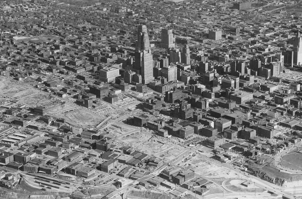 Downtown Kansas City, MO in 1957, showing the area cleared for the Downtown Loop freeway. Source: Missouri Valley Special Collections, Kansas City Public Library.