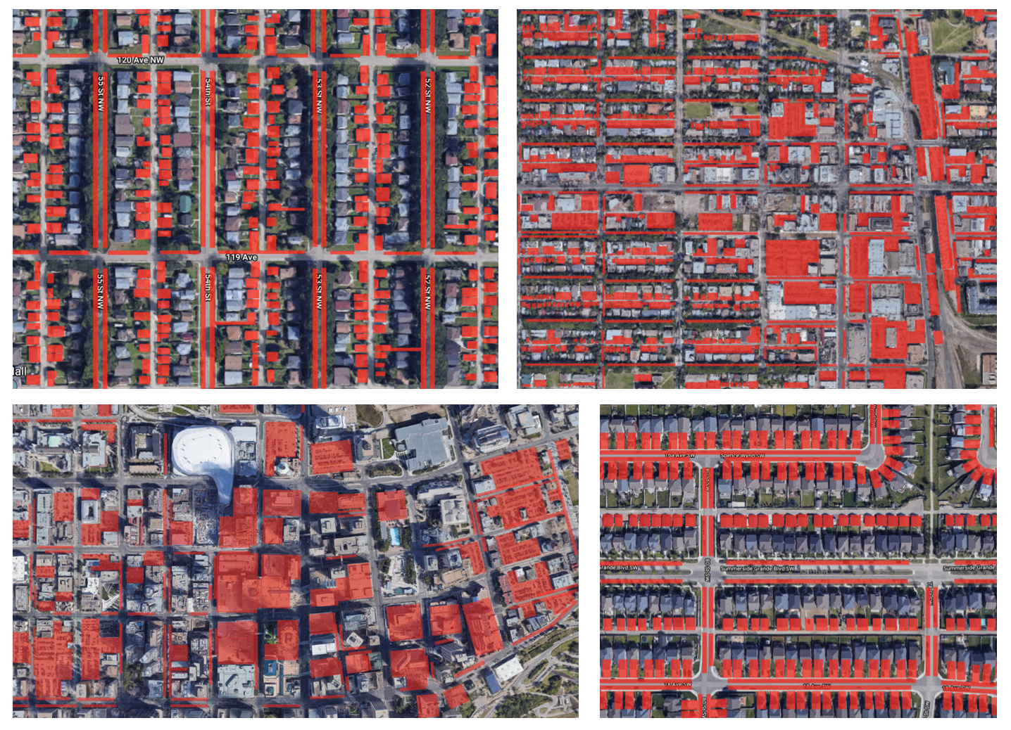 Figure 1: Areas in red show space allocated to parking in different locations in Edmonton. From top left to bottom right: mature neighborhood, Strathcona, Downtown, developing neighborhood/suburb. Image source.