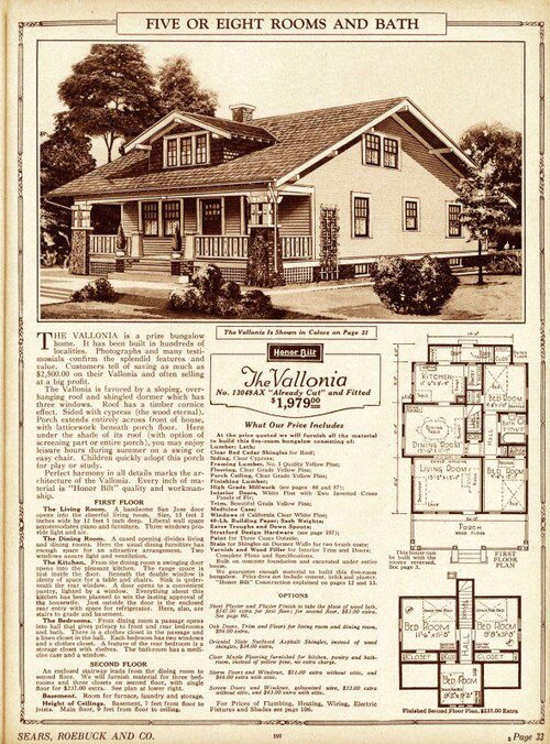 Sears / Roebuck bungalow catalog page from the 1920s.