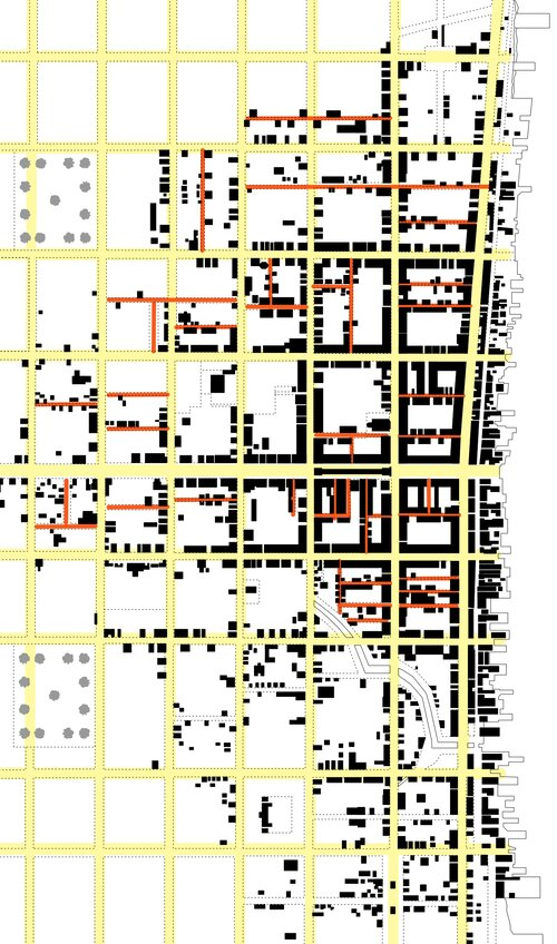 Partial plan of Philadelphia (1702), showing planned streets in yellow and minor streets in red.