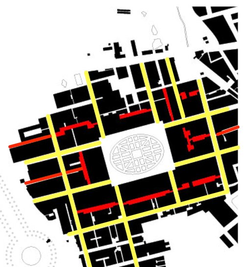 Grosvenor Square; major streets in yellow, mews streets in red. Image via Genealogy of Cities.