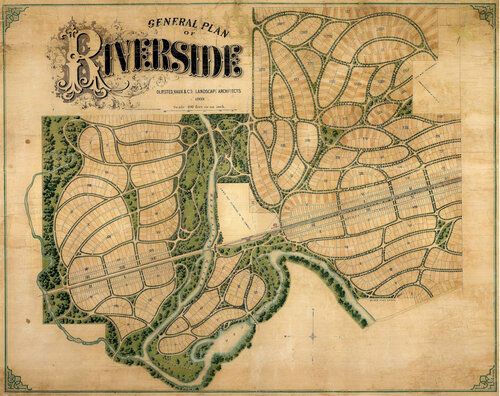 Riverside, 1869. (Image via The Frederick Law Olmsted Society.)