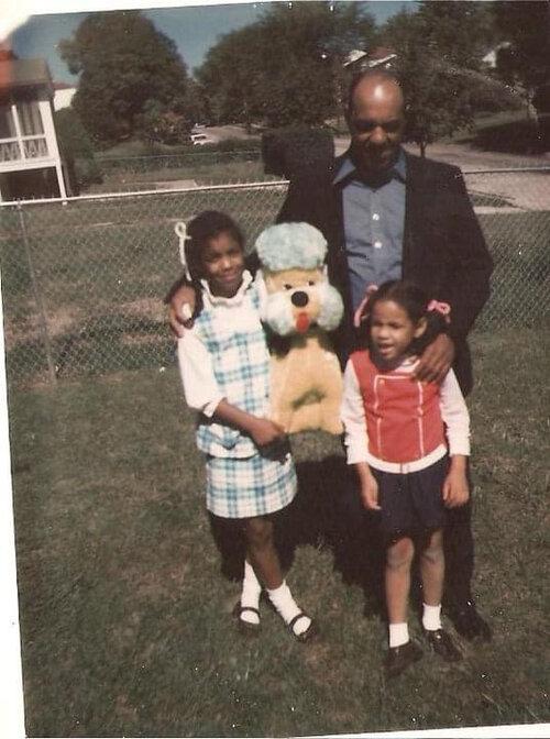 My mom, aunt, and grandpa, 1970s.