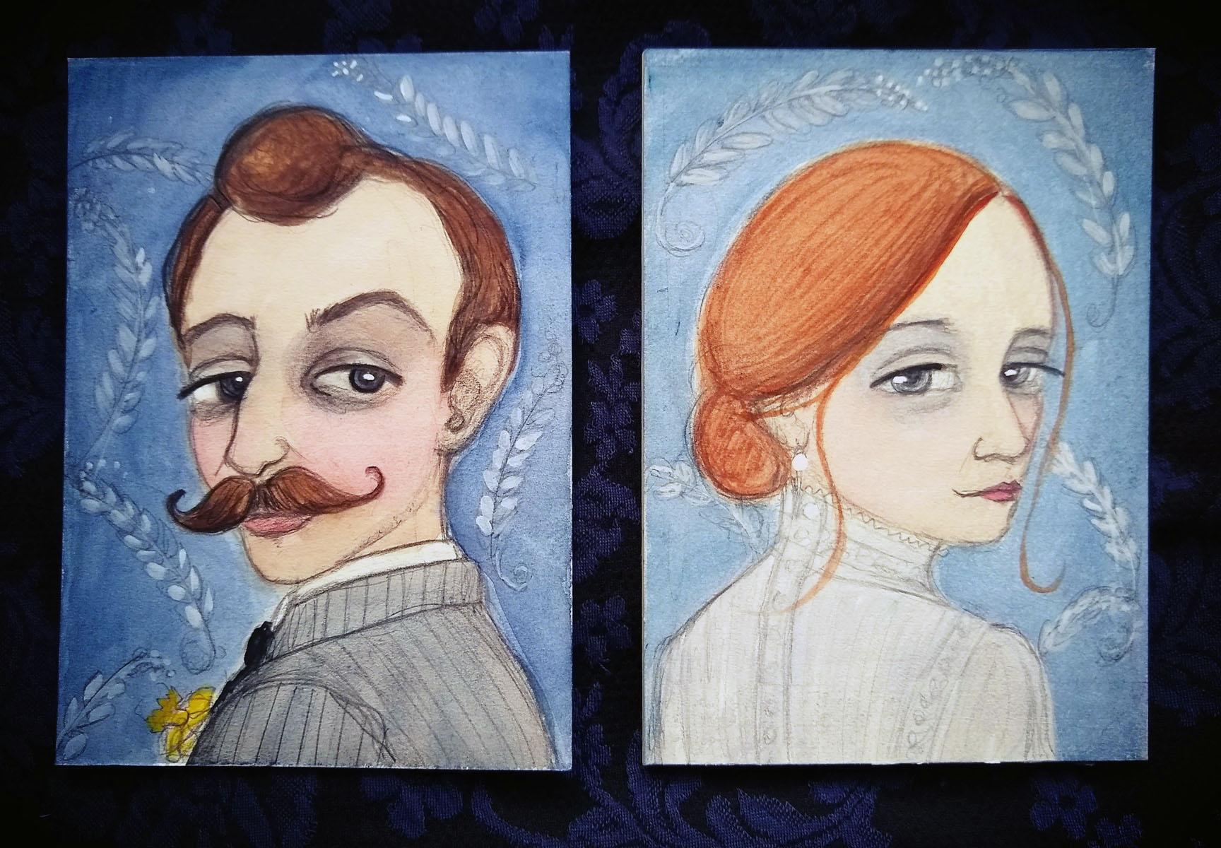 Looking Forward…Looking back     Here are couple of Edwardian inspired mini portraits I made this year for City Art Gallery's Dec/Jan Gallery show.