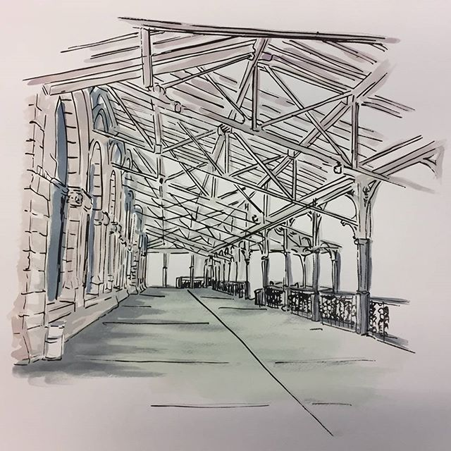 Nashville - Union Station Watercolor by Leah Storrs  This multi-medium gallery, Overlook is only up for one more week. Don't miss the chance to see this wonderful art up close and personal. Stop by the gallery for any of our nightly events. #wildgoosecreative #artontap #overlook #artmakescbus