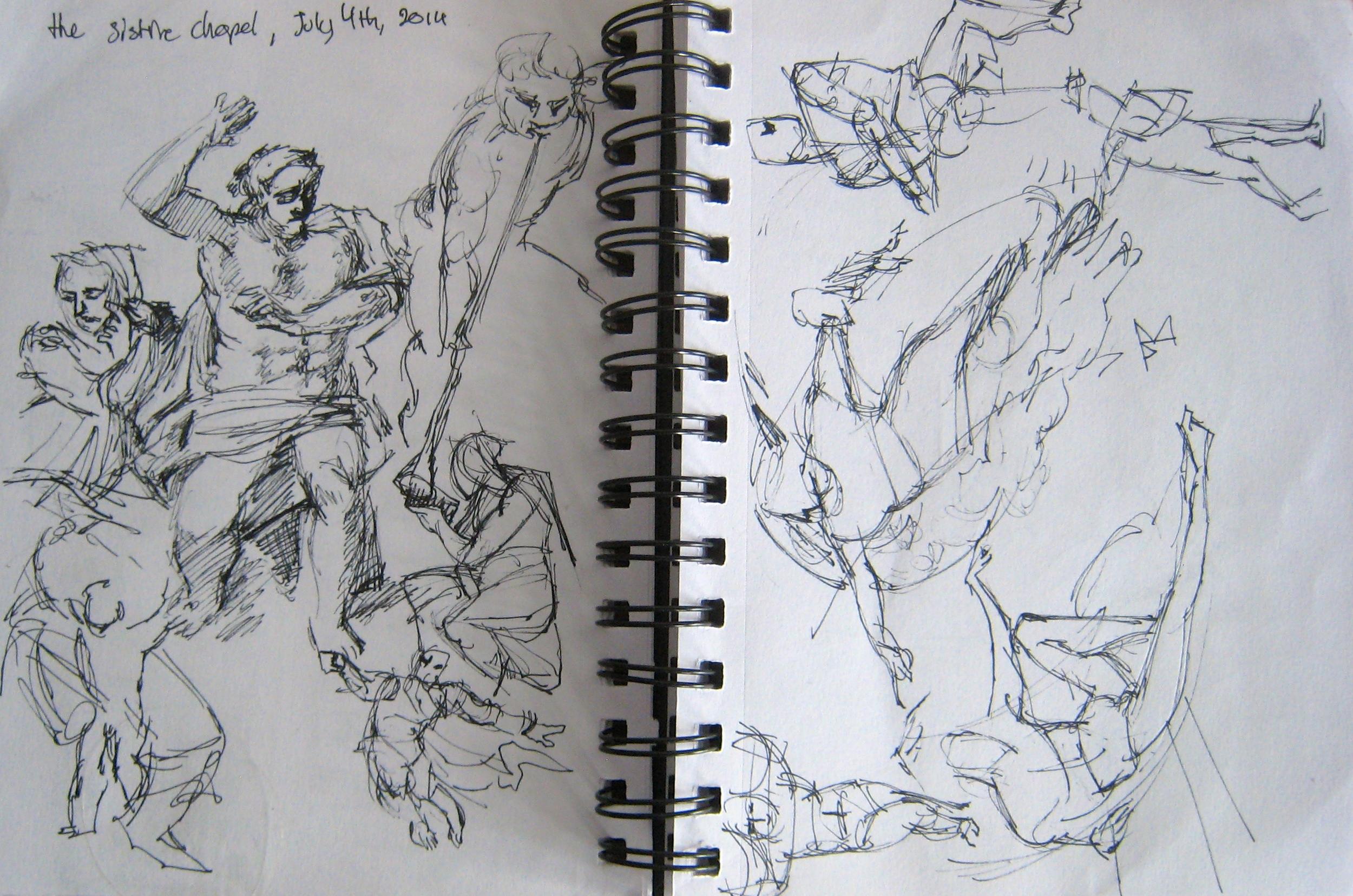 Megan Kelchner,  The Sistine Chapel, July 4, 2014 ,pen sketch, 2014