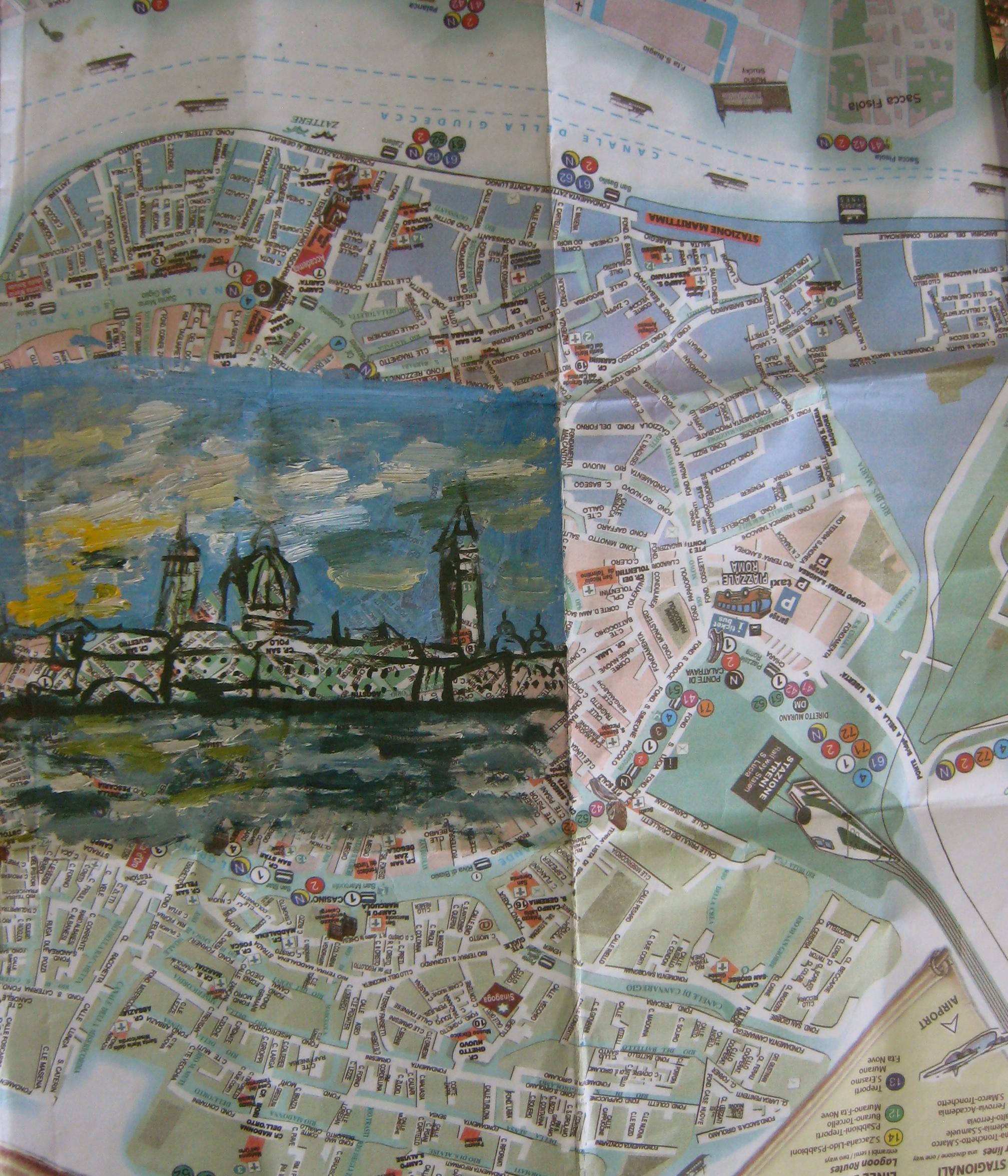 Olivia Pasquarelli, oil on found map of Venice