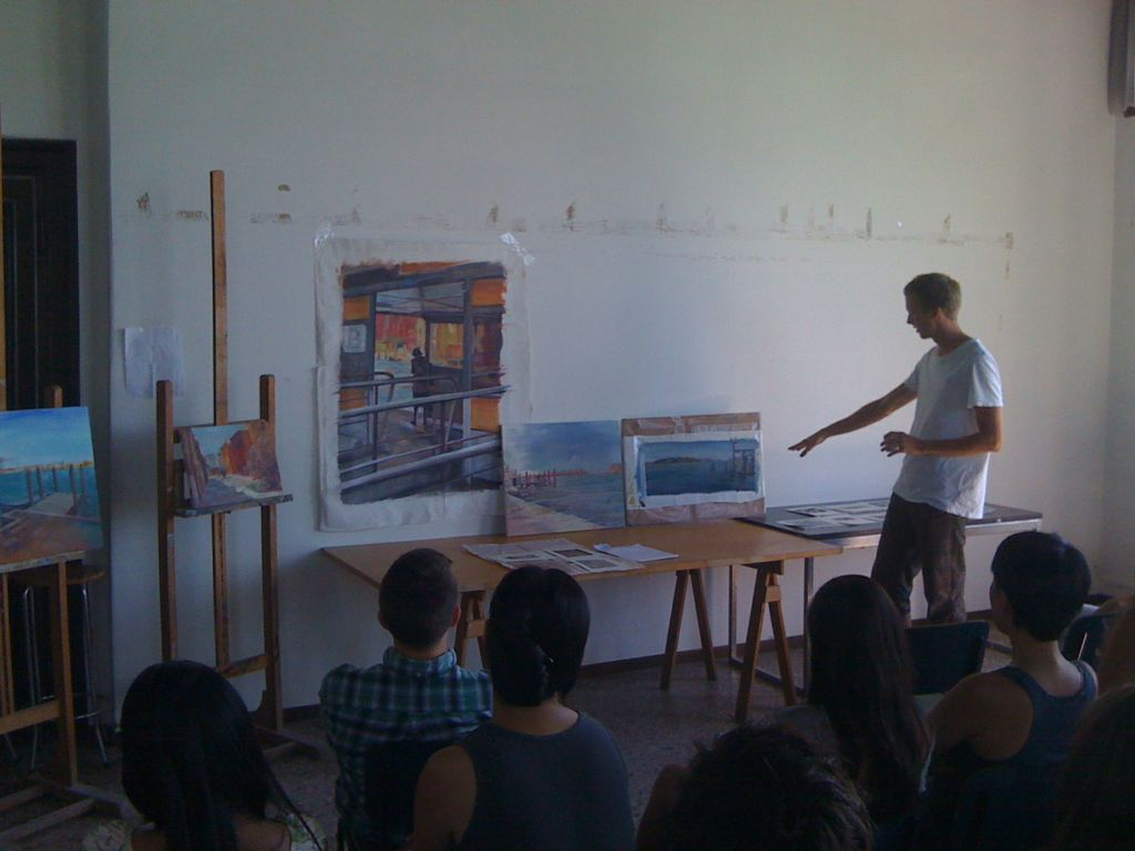 Colin Hewitt (Painting course assistant) presents his work at the Final Critique (photo: Joseph Kopta).