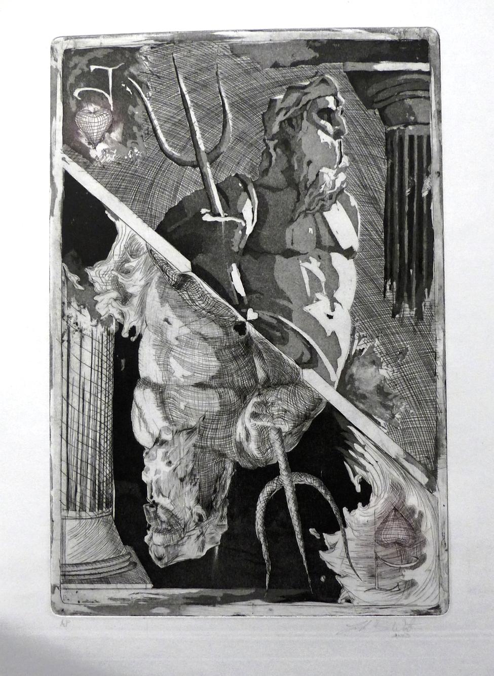 Luke Watson, One Eyed Jack , engraving and aquatint, 2013