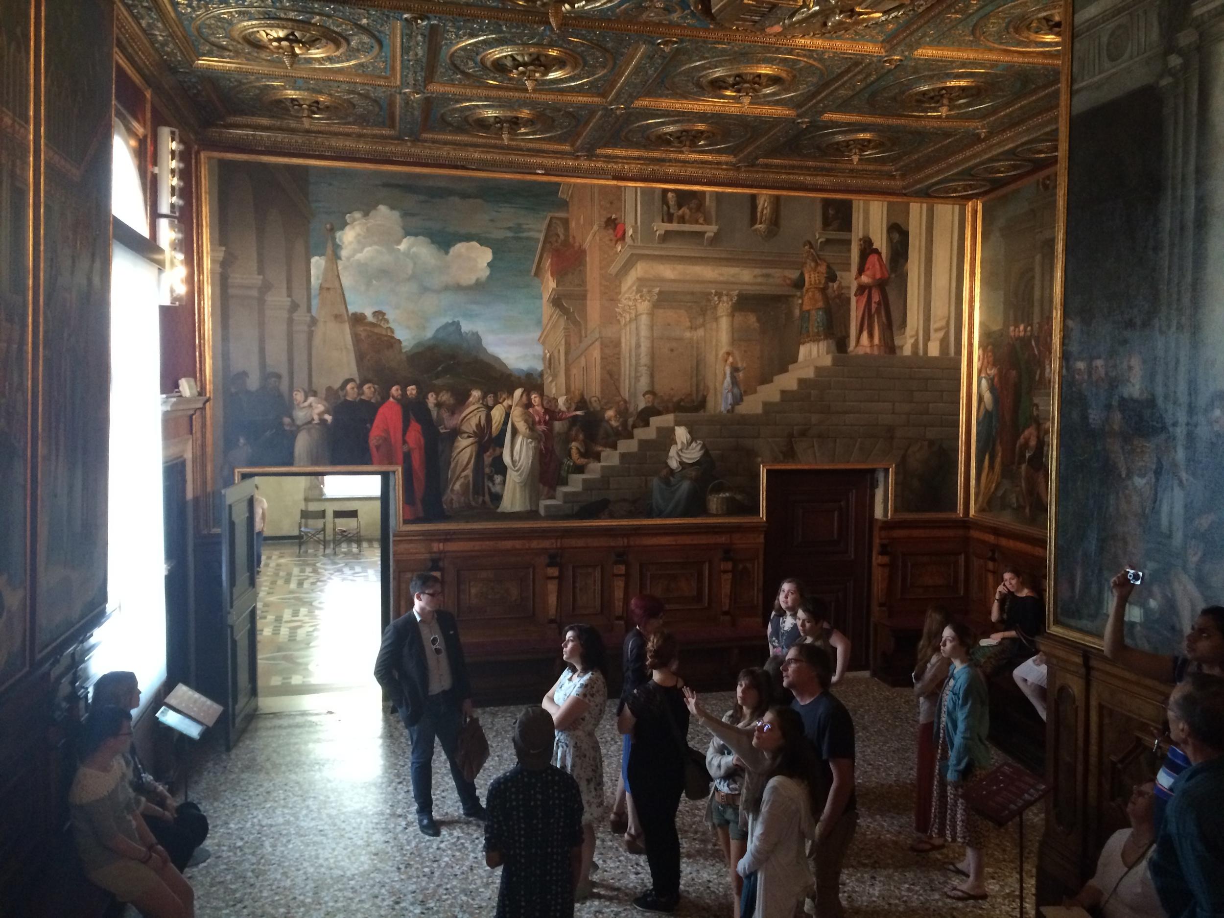 Group visit to the Albergo of the Scuola Grande di Santa Maria di Carità, Galleria dell'Accademia, with Titian's Presentation of the Virgin at the Temple (1539) (photo: J.E. Molly Seegers)
