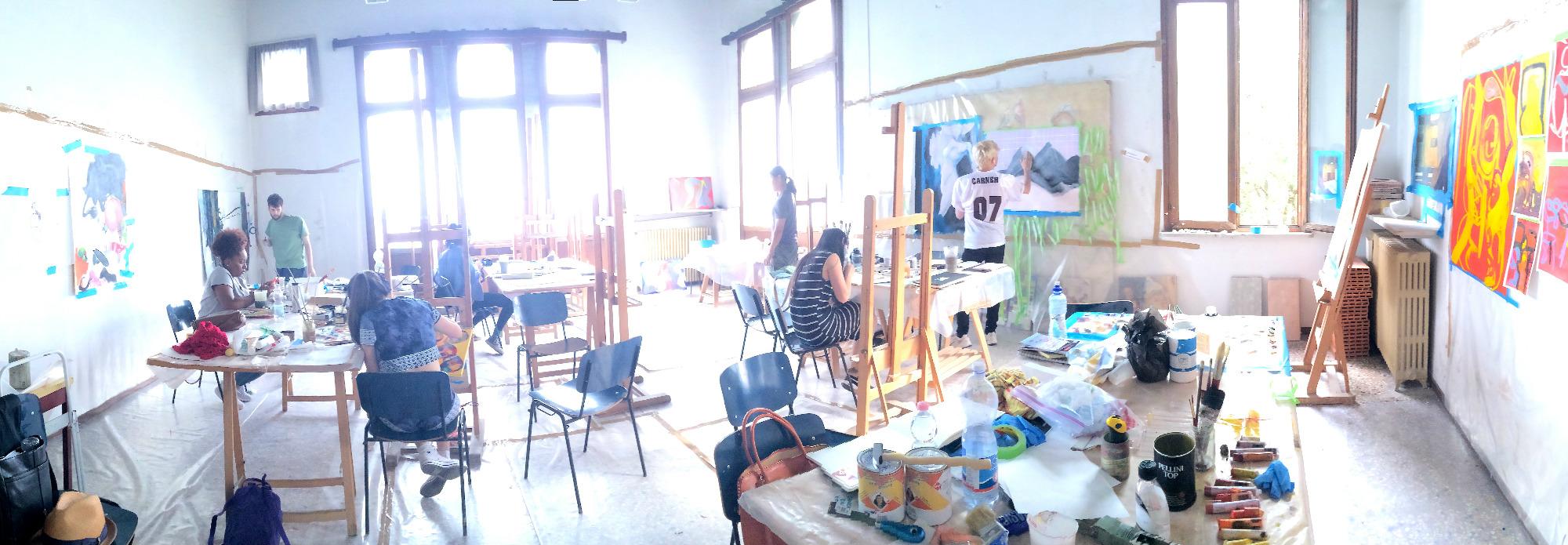Panoramic view of the painting studio at UIA. (photo: Alexandra Price)