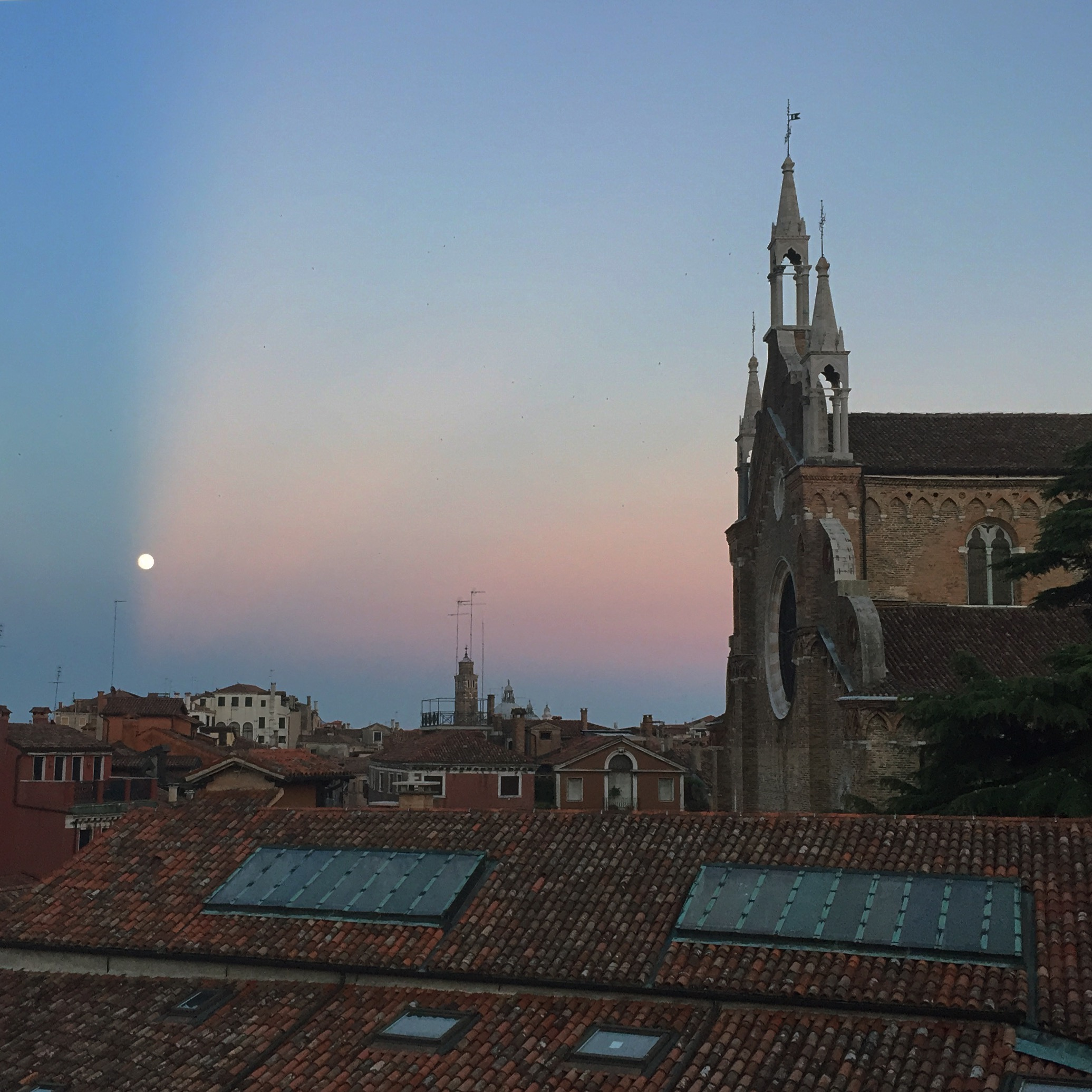 A view of the Basilica dei Frari from an apartment window.